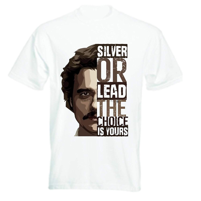 Pablo Escobar, camiseta plateada o de plomo, Camisetas estampadas personalizadas de alta calidad para hombres, camisetas Hipster, camisetas para hombres, Camisetas estampadas 100% algodón