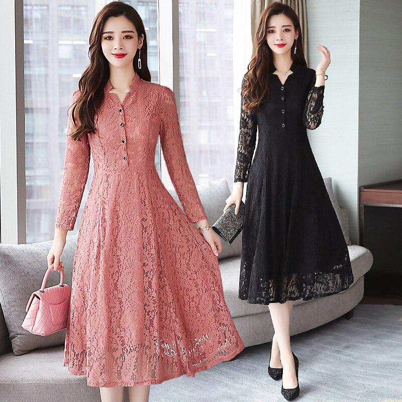 2020 outono inverno novo 4xl plus size laço do vintage midi vestidos mulheres bodycon coreano preto sexy vestido de manga longa runway