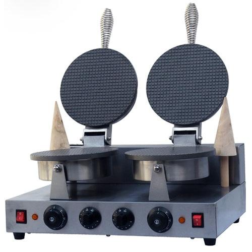 220V Electric Non-stick double Head ice cream waffle cone baker/waffle  cake Ice Cream Cone Maker /CONE SHAPE WAFFLE BAKER/ недорого