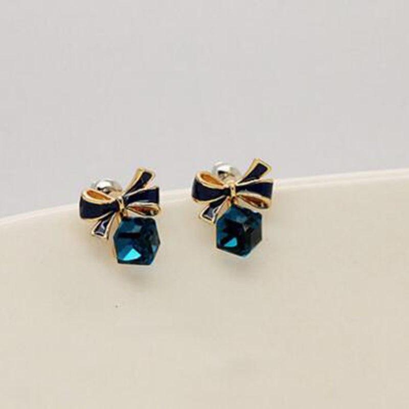 Grace jun (TM) 2 colores para elegir Austria cristal cubo de agua forma Clip en pendiente No perforado para las mujeres encanto pendientes de lazo anudado