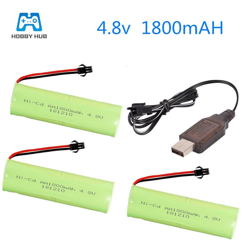 2/3/4x4.8 v 1800 mah NI-CD aa bateria recarregável para rc caminhão de carro barco tanque brinquedos elétricos carregador bateria grupo 1800 mah nicd