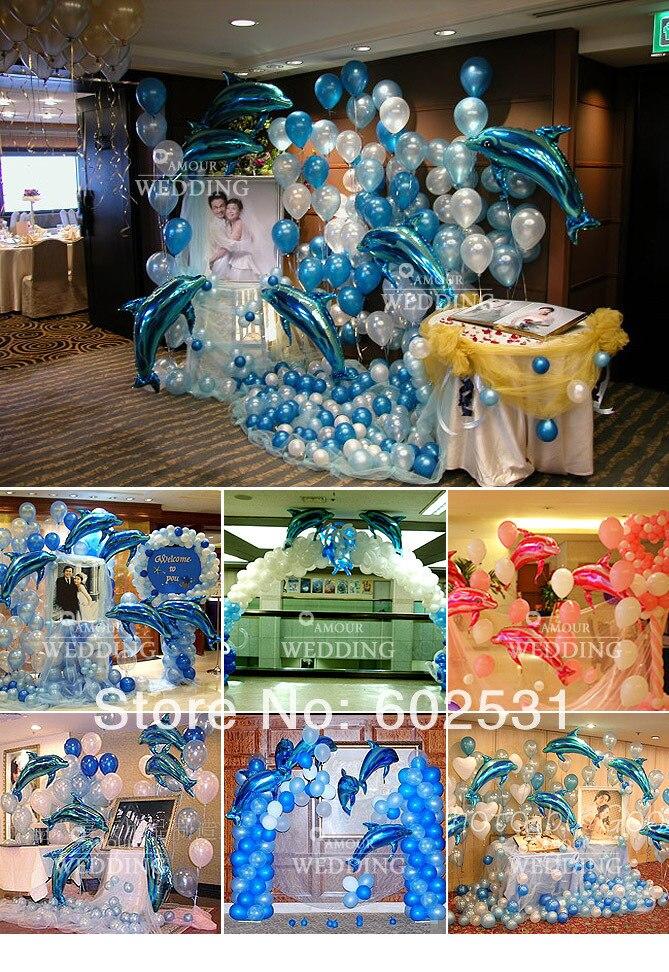 Envío Gratis globo traje de boda 18 piezas 103 cm delfines película de aluminio balloo/200 piezas globos de látex, fiesta de boda acuerdo