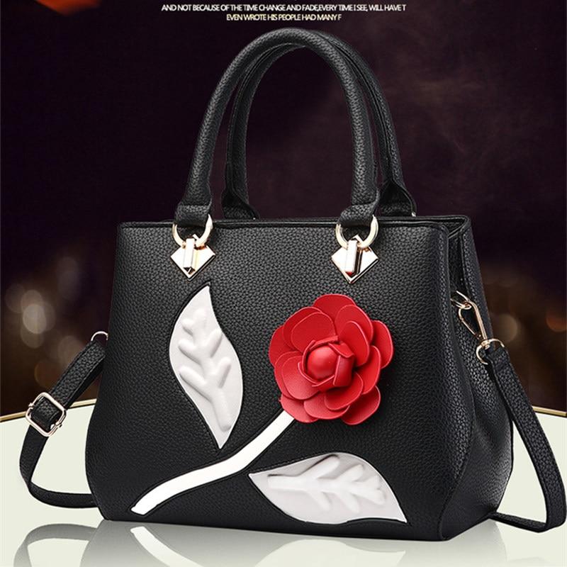 Elegante bolso de mano de PU para oficina bolso de mano de moda decoración floral de rosas bolso de mujer bandolera