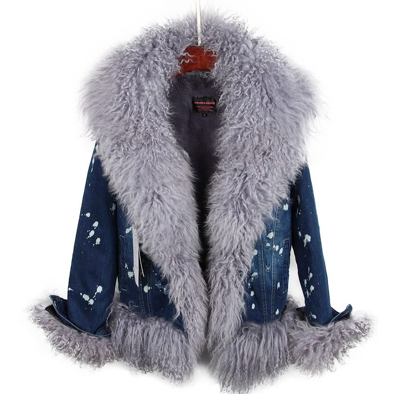 2018 Natural wool lined with luxurious wool fur collar denim coat winter casual warm fashion short fur jacket