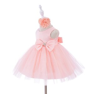 Baby Girls Clothes Toddler Satin Bodice Tulle Wedding Party Dress with Bow Newborn Girls Baptism Dress