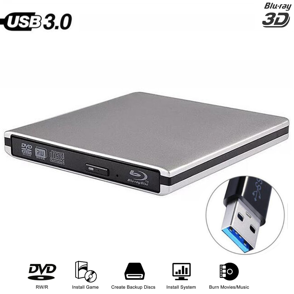 Review Bluray USB 3.0 External DVD Drive Blu-ray Combo BD-ROM 3D Player DVD RW Burner Writer for Laptop Computer Mac PC HP ACER ASUS