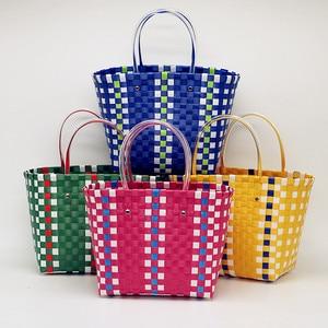Design Women Handbags Straw Women Shoulder Beach Bag Large Capacity Tote Bag Handmade Basket Vintage Grid color Shopping Bag