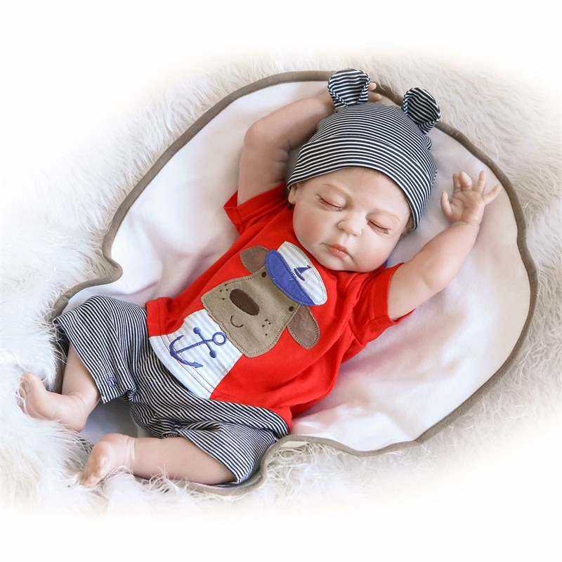 دمية سيليكون ناعمة ، 45 سم ، 50 سنتيمتر ، جسم كامل ، طفل نائم جميل ، نموذج دمية ، ملحقات صور ، هدية عيد الميلاد والكريسماس