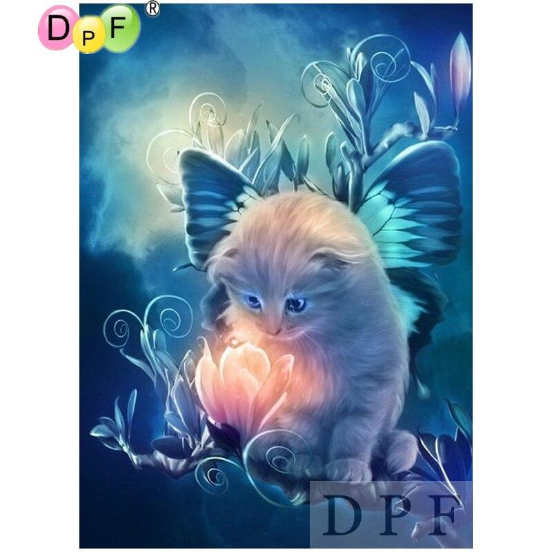 DPF diamante bordado gato, alas, flor diamante pintura Cruz stich diamante mosaico completo cuadrado decoración con diseño bordado para el hogar