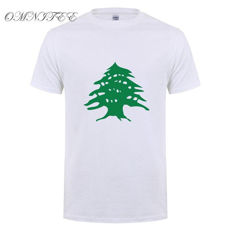 Omnitee bandera del país Libano Camiseta Hombre Casual algodón moda manga corta cuello redondo Cool Lebanon Camiseta Hombre Camisas OZ-013