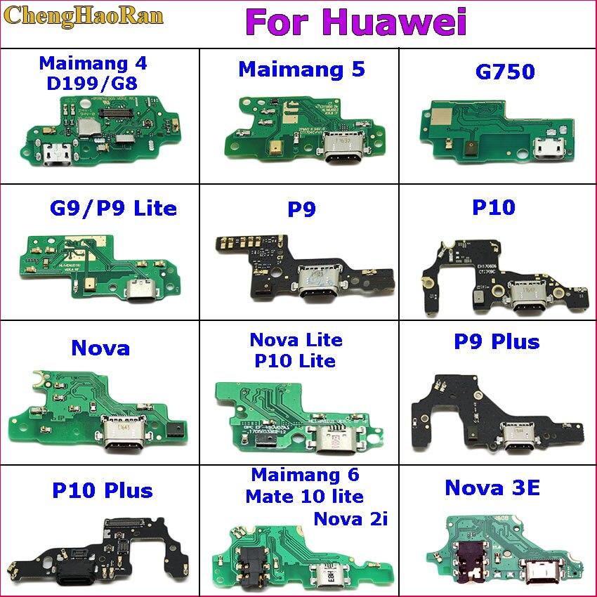 ChengHaoRan USB порт для зарядки док-станция разъем гибкий кабель для Huawei maimang 4 5 6 G750 G9 P9 Lite P10 plus Nova 3E Nova 2i