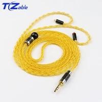 headphones upgrade cable 8 strands silver plated 3 5mm audio plug for mmcx 0 78 a2dc ie80 im diy headset se215 se315 se425 se535