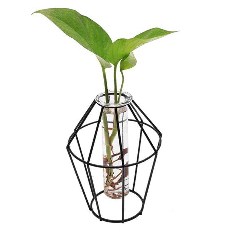 Скандинавский стиль 3D стеклянная железная художественная Геометрическая ваза с куветкой Настольный завод Бонсай цветок Свадебные украшения для дома аксессуары