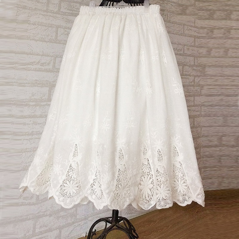 Free Shipping 2019 New Fashion Knee Length Summer 100% Cotton Embroidery Flower Lace Cutout Skirts For Women Elastic Waist