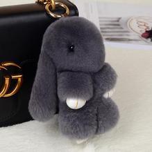 15CM sevimli Pluff tavşan anahtarlık Rex sahte hakiki tavşan kürk anahtarlık kadın çantası oyuncak bebek kabarık Pom pom güzel ponpon anahtarlık