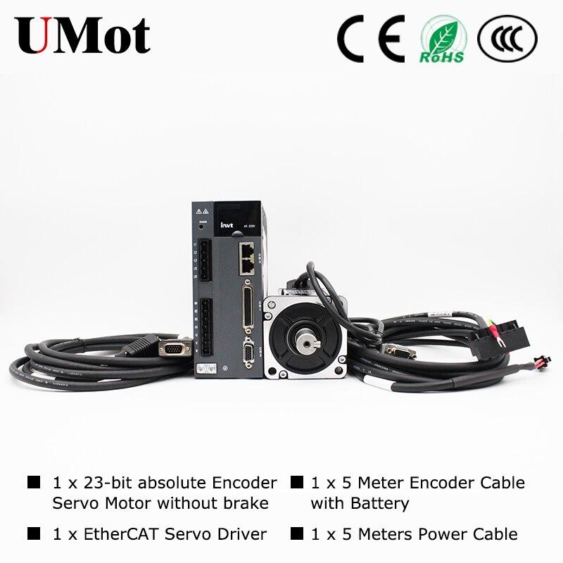 Серводвигатель переменного тока 220В без тормоза 750 Вт серводвигатель с сервоприводом EtherCAT для Arduino фрезерный станок с ЧПУ