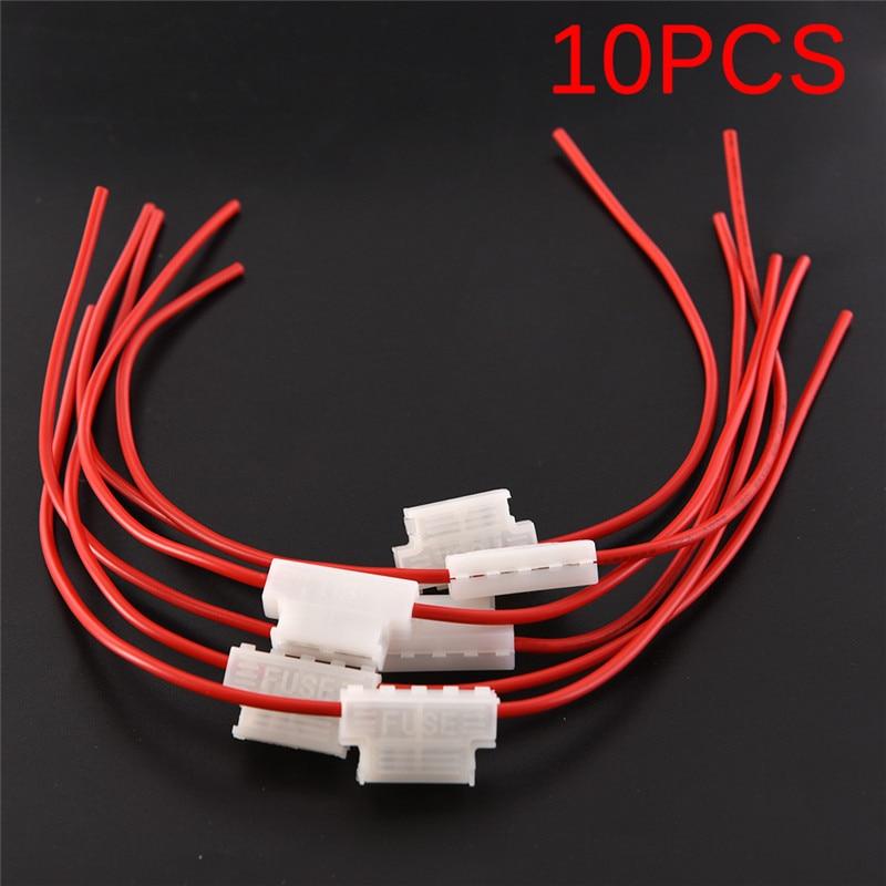 10 unids/lote portafusibles 5A F/hoja media rápida portafusibles Cable portafusibles para coche barco camión ATC/ATO