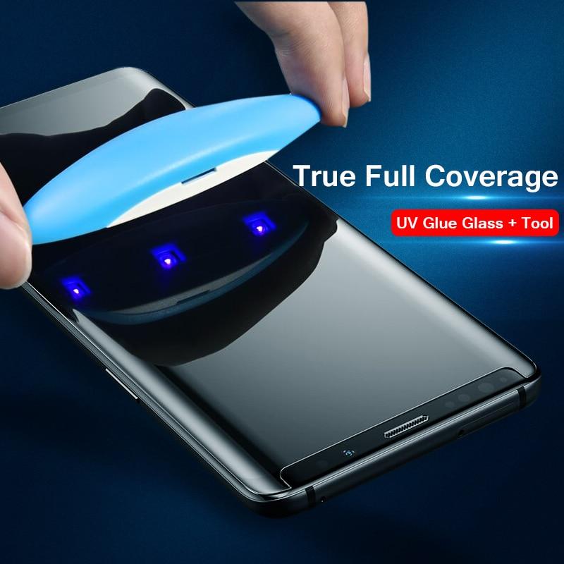 5D UV líquido completo pegamento vidrio templado para Samsung Galaxy Note 10 9 8 S8 S9 S10 Plus S10e S7 borde Protector de pantalla caso amigable