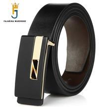 FAJARINA Design Quality Double-side-use Genuine Leather Belt Fashion Letter Slide Buckle Metal Belts for Men Accessories LUFJ253