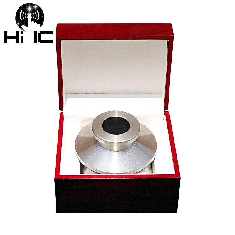 Alta gama POM LP vinilo giradiscos disco estabilizador peso récord/abrazadera giradiscos vibración equilibrada con caja paquete madera