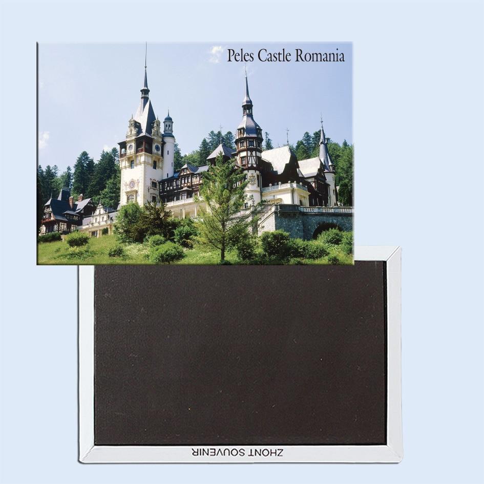Imanes de nevera de viaje 78*54mm, Castillo de Peles, Sinaia, Transilvania, imanes de nevera rígidos de viaje Rumanía 24933