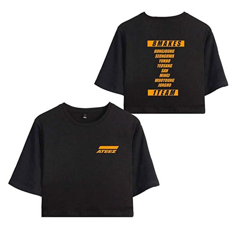 Las mujeres ATEEZ Top nuevo ombligo camiseta Top Kpop Hong Jong Seong HWA Yun Ho Yeo Sang San camisetas de Min Gi Woo