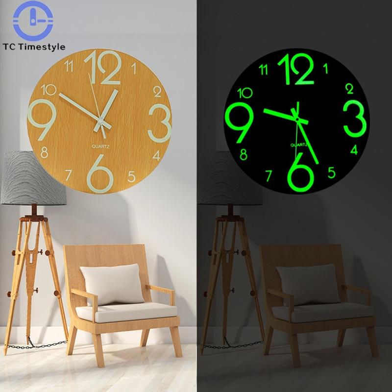 Round Mute Night Light Wooden Wall Clock  Antique Shabby Home Kitchen Room Decor Antique Craft Clock 12 inch Living Room Clocks
