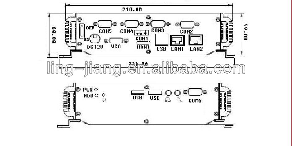 Embedded 4Gb ram 64Gb SSD Industrial computer 1*HDMI 1*VGA 6*Com 4*USB fanless IPC support RS485 2 LAN Mini PC