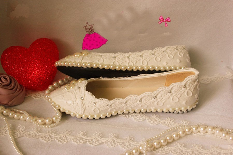 Gorgeous imitation pearl deco lace platform flat princess dancing shoes sexy women wedding bridal dress shoes 2018 Free Shipping
