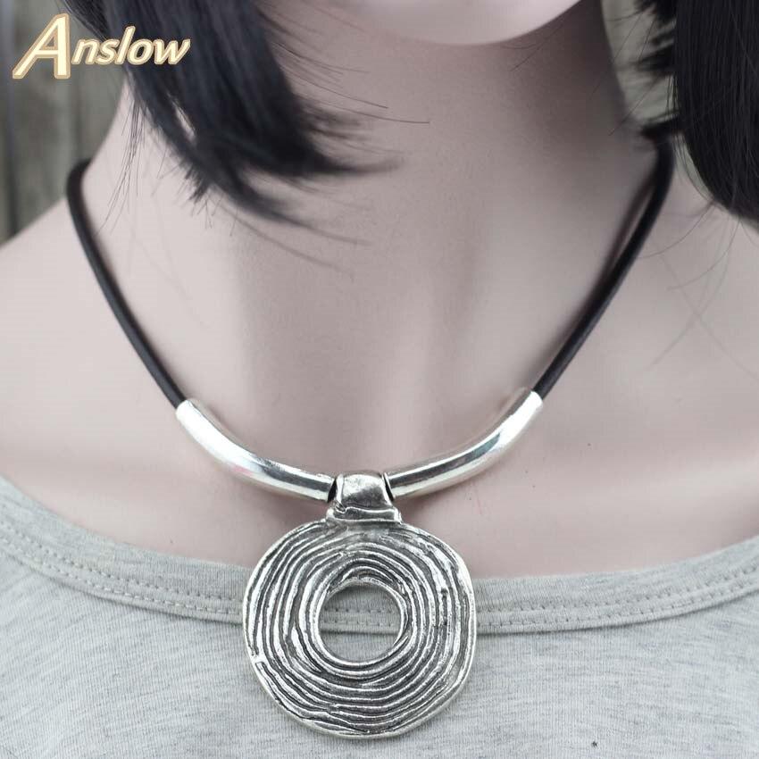Anslow, хит продаж, дизайнерское панк-рок гиперболе, ручная работа, веревочное кожаное ожерелье, женские чокеры, ожерелья, Рождественский подарок LOW0014AN