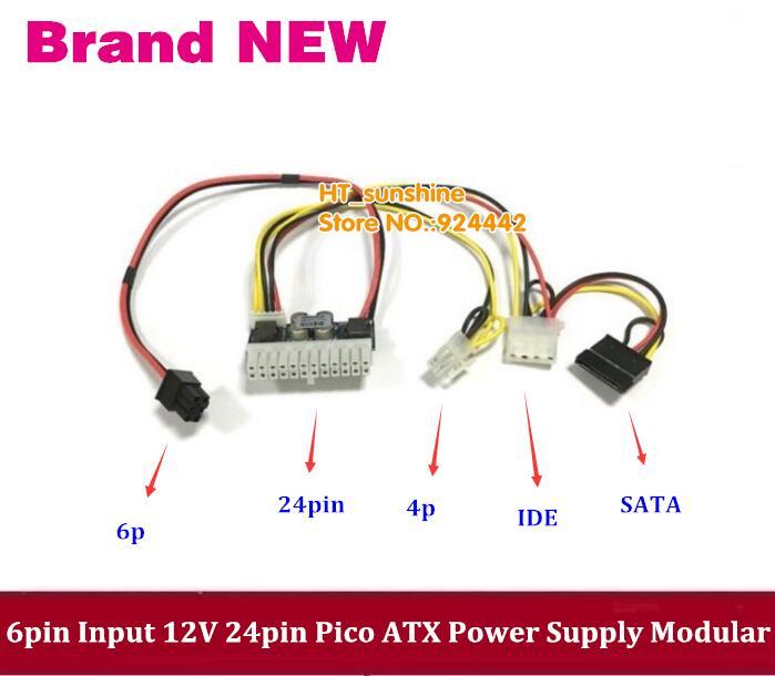 angitu atx 24pin to dual pci e 6pin power adapter cable with power starting PCI-E 6pin input DC 12V 250W 24pin Pico ATX Switch PSU Car Auto Mini ITX power module 6P to 24P IDE SATA with free shipping