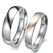 Nouveau bijoux amoureux de la mode 316L titane acier en forme de coeur puzzle mariage couple anneaux meilleurs cadeaux de saint valentin en gros