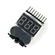Lipo Li-ion/LiMn/Li-Fe Battery Voltage Tester Volt Meter Indicator Checker Dual Speaker 1-8S Low Voltage Buzzer Alarm F00872-100