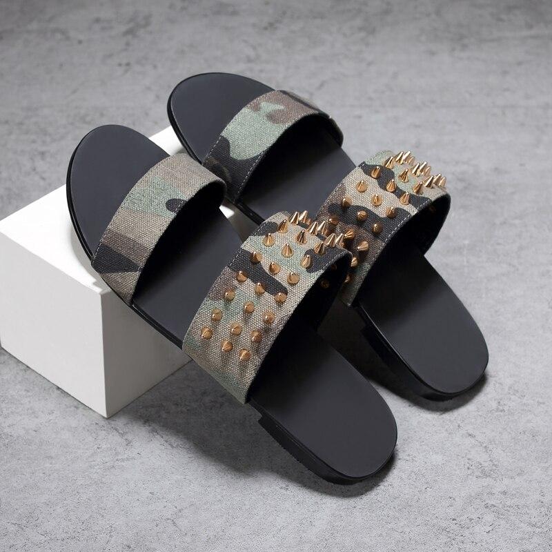 2017 Cheap Mens New Lether Camouflage Sandal Summer Rivet Outdoor Beach Flip Flops Rubber Sole Flats Wear Slippers
