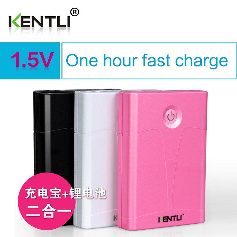 KENTLI banco de potencia multifunción cargador multifunción + 4 Uds 1,5 v 3000mWh litio li-ion AA batería recargable