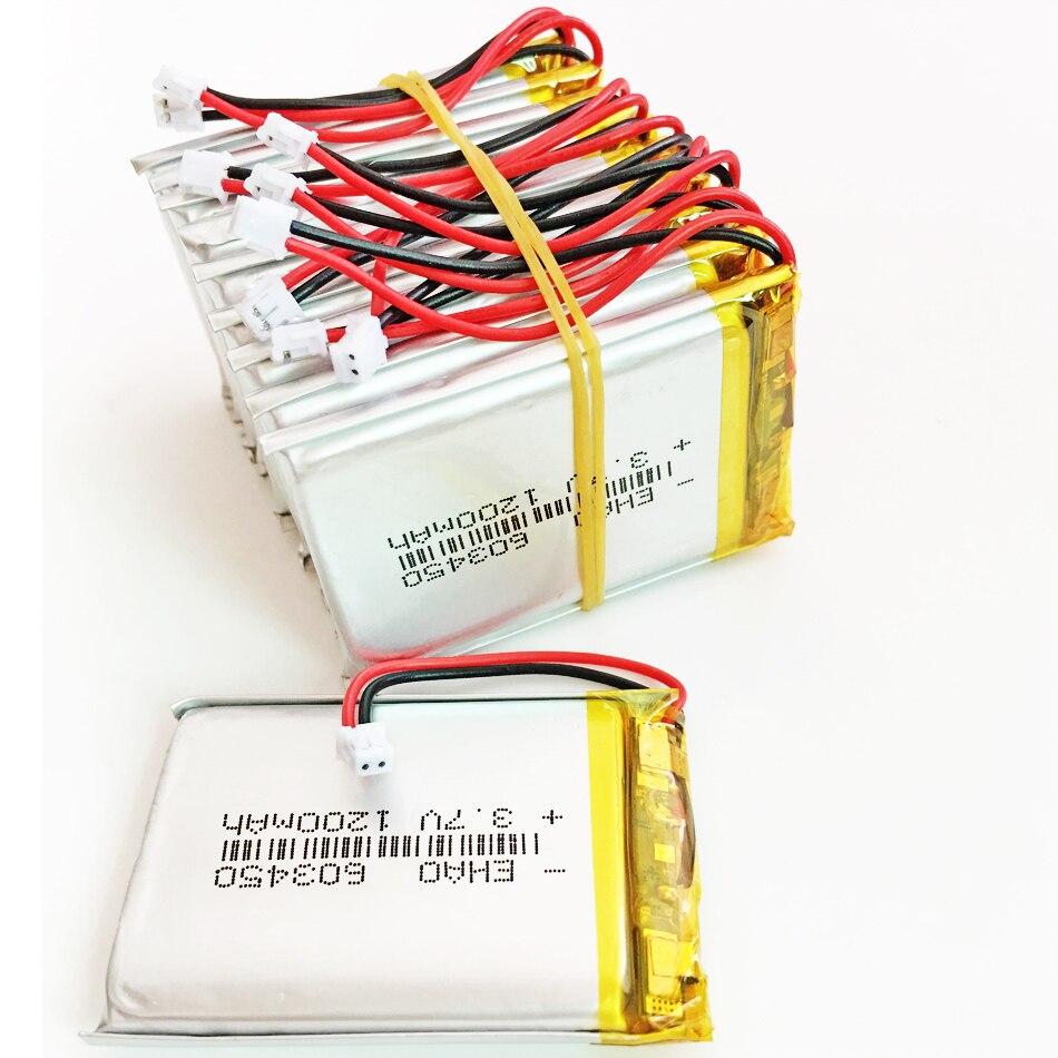 10 pces 3.7 v 1200 mah lipo bateria recarregável com jst zh 1.5mm 2pin conector para o jogo de vídeo móvel de gps dvd e-books 603450