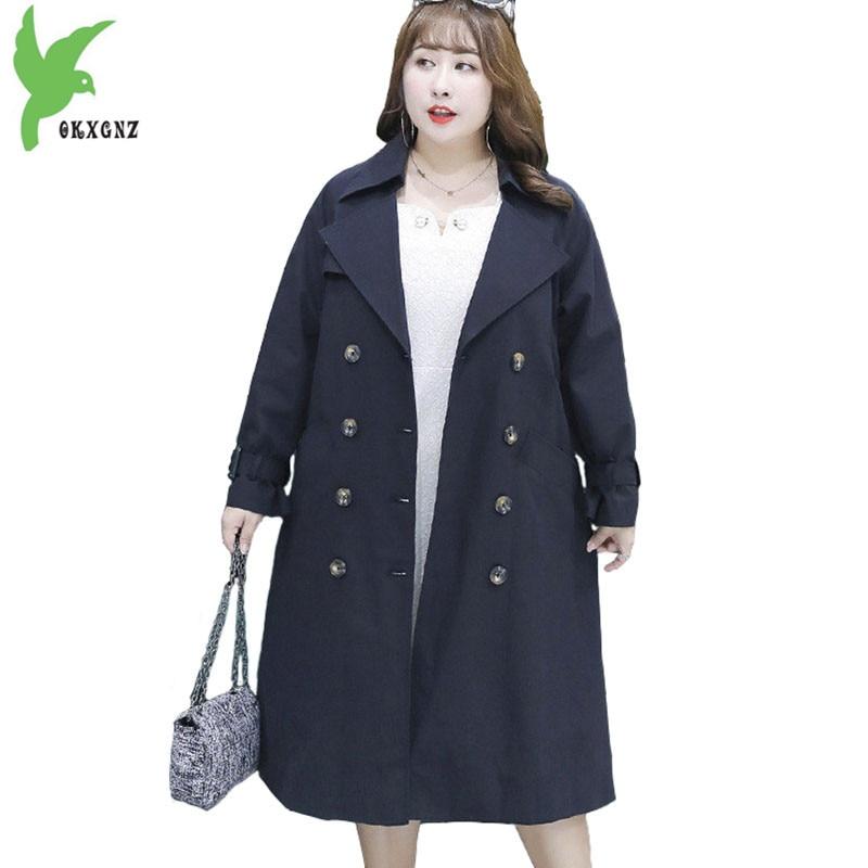 Plus size 4XL Trench Coat for Women 2018 Autumn Long Windbreaker Fashion Outerwear Female Spring Belt Slim Large size Coats 2091