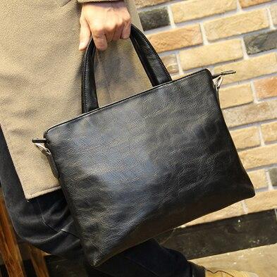 Mannen Nieuwe PU Lederen Aktetas, Zwart Fashion Business Handtas Cross Body Bags Office Laptop Computer Tas Bestand Handtassen XP715