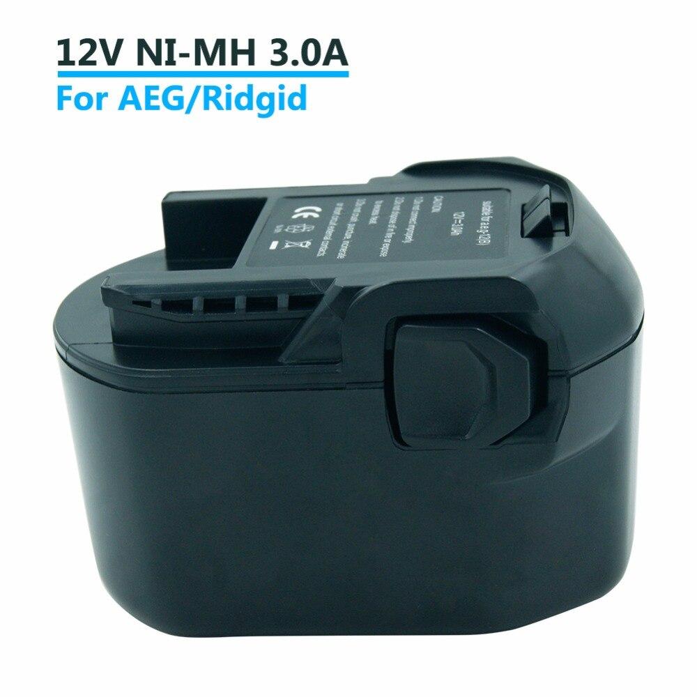 بطارية أدوات لاسلكية 3000mAh ni-mh 12 فولت لأجهزة AEG/Ridgid AEG BS 12 G ، AEG BS 12X ، B1220R ، B1214G ، B1215R ، M1230R