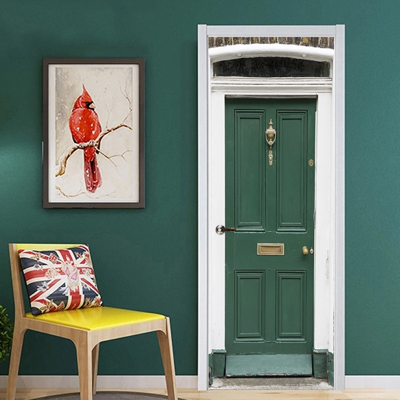 2pcs/set  Creative Door Sticker Wallpaper Green Iron Gate Wall Stickers DIY Mural Poster PVC Waterproof Bedroom Home Decor