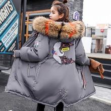 2019 winter Women Snow White Down Coat Plus size Fashion jacket hoodie long Parkas warm Sweet Jackets Female winter coat clothes