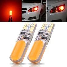 JXLCLYL 2 pièces T10 W5W COB LED voiture silice Flash stroboscope largeur ampoule Orange