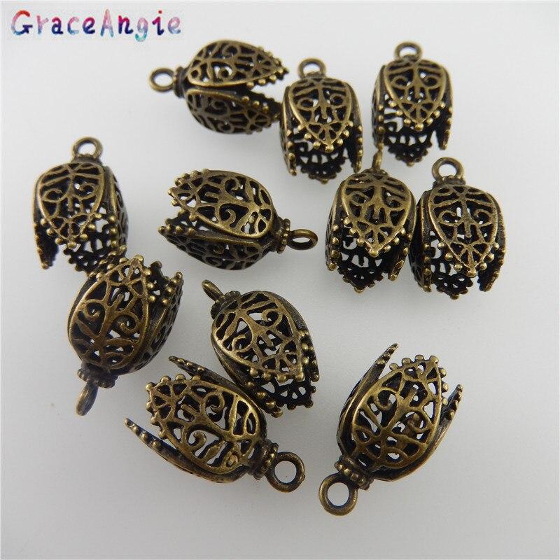 Graceangie 8 pçs cobre bronze antigo cor oco-padrão pingente encontrando 17*11*11mm 05745 artesanal moda jóias encantos