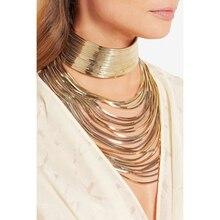 Роскошное металлическое ожерелье-чокер с цепочкой, блестящее ожерелье-чокер в египетском стиле, тренд 2017, многослойное свадебное ожерелье, ...