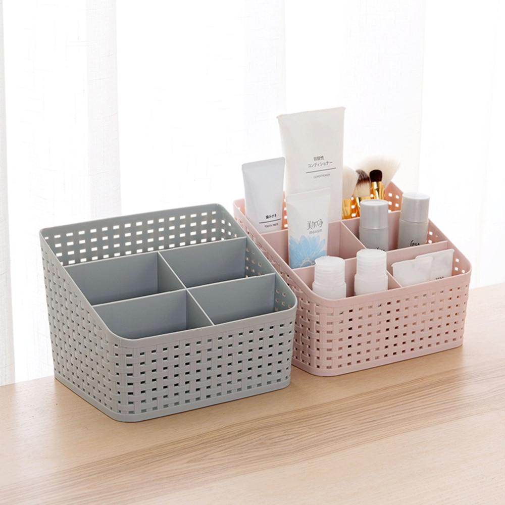 1pc Multi-haut Home Home Nachahmung Rattan Serie Kosmetische Lagerung Box Kommode Finishing Box Desktop Kunststoff Pflege Produkte regal