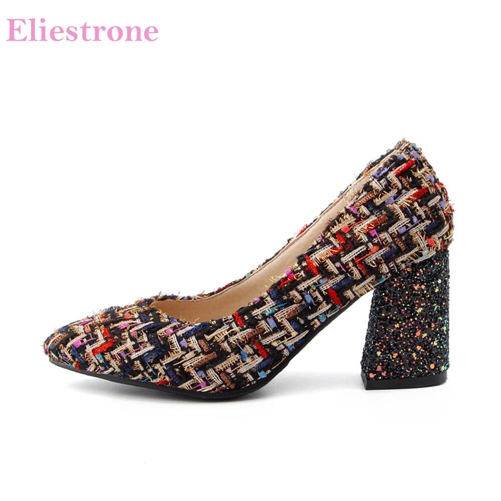 Vendite calde nuovissime eleganti donne nere Checker pompe Casual moda scarpe da donna tacchi alti EB57 Plus grandi dimensioni piccole 10 32 43 46