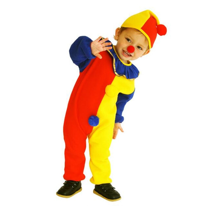 Children Baby Clown Cosplay Costume Birthday Party Jumpsuits & Rompers+Hat+Nose Brithday Holiday Cos