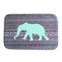 Indian elephant Style Water-absorb Floor Bath Mat Toilet Room Coral velvet Anti-slip 40*60cm(Black and purple)