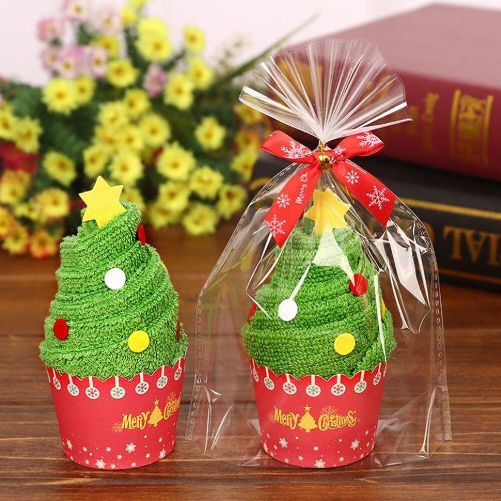 30x30cm requintado presente de natal cupcake toalha de algodão com saco de embalagem natal noel decorações de natal para casa crianças