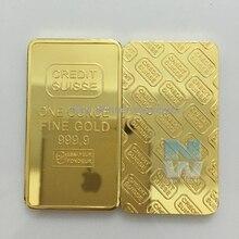 3 stücke Laser seriennummer 1 unzen 24ct Pure Gold Überzogene Layered Bullion Bar Barren Replik münze